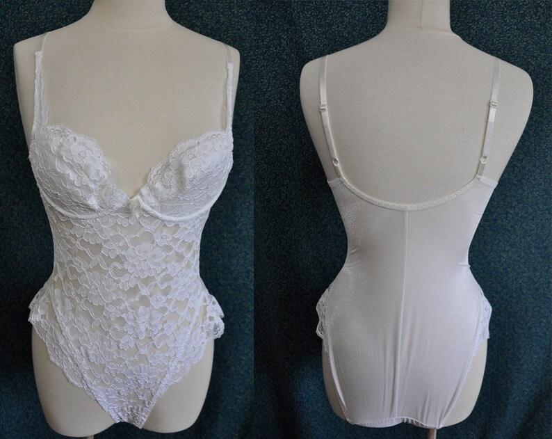 49c7476721e Vintage White Lace Bodysuit Victoria's Secret Frills | Etsy