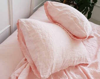 Organic linen pillowcase housewife style in light pink color. Stonewashed linen pillow cover Standard, Queen, King sizes. Linen pillow sham.