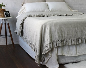 Organic duvet cover with ruffle on 4 sides. Stonewashed softened vintage ruffled duvet cover Twin Full Twin XL Queen King CalKing. Linen