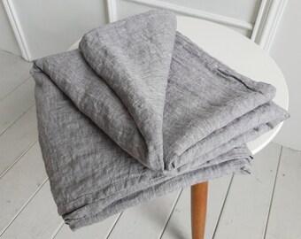 Organic linen flat sheet. Stonewashed linen top sheet in ashen color. Flat sheet Queen Full Twin King CalKing sizes. Linen bedding.
