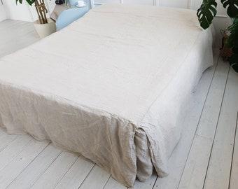 Organic linen bedskirt. Linen bed valance. Tailored linen bedskirt. Bed coverlet. Various colors. Stonewashed linen bedding Twin King Queen