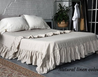Linen flat sheet with ruffle on 4 sides. Vintafe, chabby chic loook linen flat sheet Twin Queen Full King size. One linen top sheet. Bedding