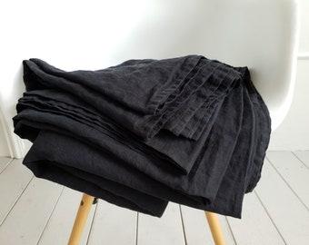 Linen flat sheet in black color. Organic top sheet Twin, Full, Queen, King, CalKing size. Black bed linen. Stonewashed flat sheet. Bedding.