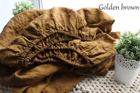 Organic Linen Fitted Sheet Golden Brown color California sizes Twin 100/% Stone Washed linen Fitted sheet Full Queen Organic Flax King