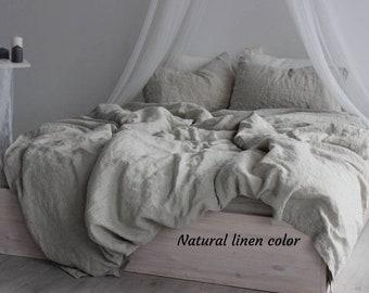 100% organic linen duvet cover. One stonewashed softened linen duvet cover Twin Full Queen King Califirnia sizes. Organic linen bedding