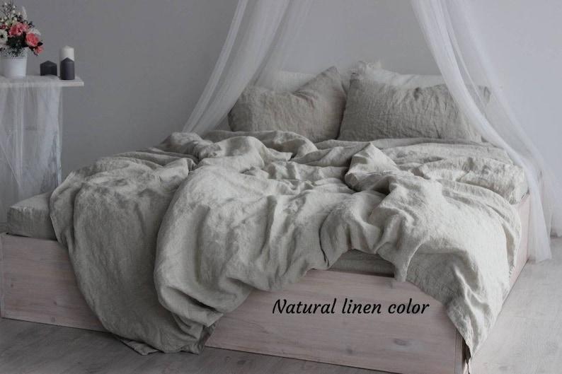 100% organic linen duvet cover. One stonewashed softened linen image 0