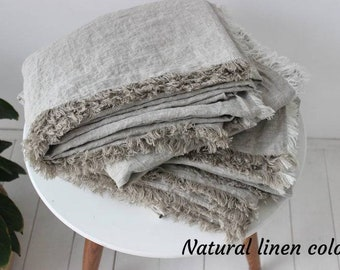 Organic linen flat sheet with fringe on 4 sides. Stonewashed linen flat sheet. Softened organic top sheet with fringes. Shabby chic look.