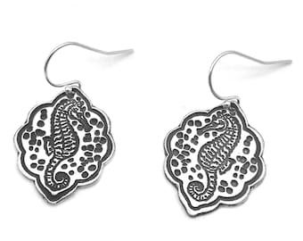 Silver Seahorse Earrings | Beach Lover Earrings | Seahorse Dangle Earrings | Beach Jewelry Silver | Seahorse Jewelry | Ocean Jewelry