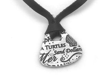 Silver Sea Necklace | Shell Necklace | Beach Jewelry | Leather Ocean Necklace | Beach Lover | Silver Beach Pendant Memento | Metal Clay