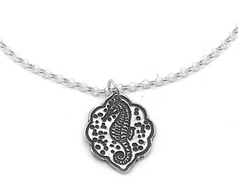 Seahorse Necklace | Silver Beach Pendant | Beach Lover Necklace | Seahorse Pendant | Beach Jewelry Silver | Seahorse Jewelry | Ocean Jewelry