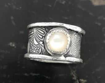 Rustic Silver Ring | Silver Wide Band Ring | Silver Bohemian Ring | Mother of Pearl Ring | Handcrafted Wide Band Silver Ring | Gemstone RIng
