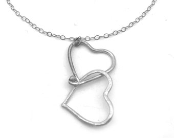 Sterling Silver Double Heart Necklace | Silver Necklace with Heart Pendant | Silver Necklace Heart Jewelry | Mothers Day Jewelry | Mom Gift
