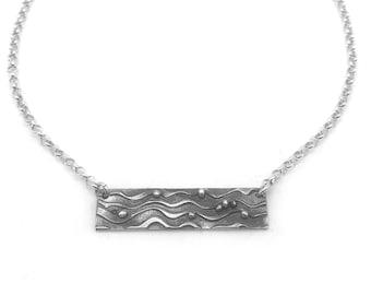 Ocean Wave Pendant | Silver Beach Pendant | Beach Lover Necklace | Ocean Necklace  | Beach Jewelry Silver | Silver Bar Necklace