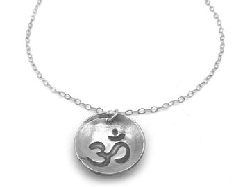 Silver Om Necklace | Yoga Om Pendant | Simple Silver Necklace with Om Design | Yoga Jewelry | Metal Clay Jewelry