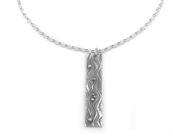 Silver Beach Pendant | Silver Bar Necklace | Ocean Wave Necklace | Ocean Necklace  | Beach Jewelry Silver | Beach Lover Necklace