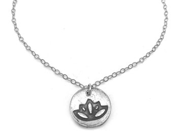 Lotus Flower Pendant Yoga Necklace  | Silver Lotus Flower Necklace | Lotus Pendant | Yoga Jewelry | Metal Clay Jewelry | Nature Lover