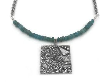 Ocean Wave Necklace | Ocean Necklace | Beach Lover Necklace | Silver Beach Pendant | Apatite Gemstone Necklace | Beach Jewelry Silver
