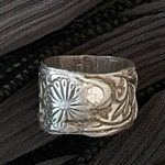 Wide Band Ring - Silver Ring Band - Silver Clay Ring - CZ Diamond Ring - Metal Clay Ring - Silver Wide Ring - Handmade Jewelry - Size 5-1/2