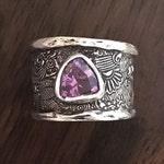 CUSTOM: Wide Band Ring - Handmade Silver Ring - Boho Ring - Amethyst Band - Handmade Ring Silver - Wide Silver Band Ring - Silver Clay Ring