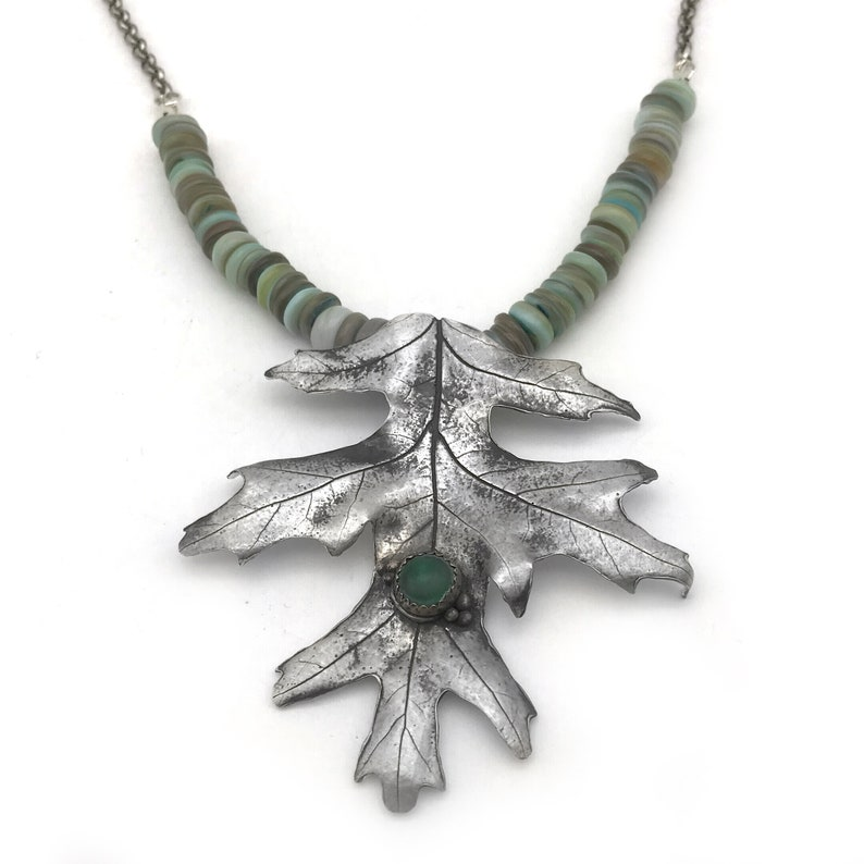Leaf Jewelry Nature Necklace with Malachite Pendant for Autumn Jewelry Pure Silver Maple Leaf Necklace for Nature Lover