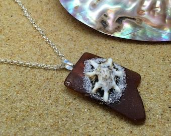 Unique sea glass necklace with shell. Beach glass pendant