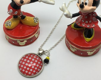 Rock the dots - Minnie Mouse Disneybound glass necklace.