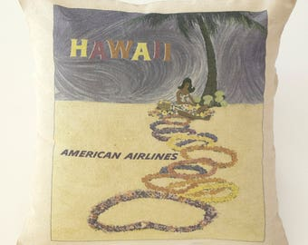 """Vintage American Airlines Hawaii Travel Art Throw Pillow 18x18"""""""