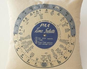 """Pan Am Time Selector Wheel Throw Pillow 18x18"""""""