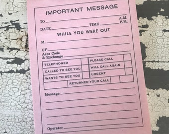Vintage Pink Important Message Pad | While You Were Out