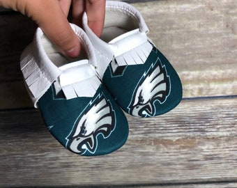 Philadelphia Eagles Baby Shoes Moccasins- Baby Moccs- Baby Moccasins by TexasMoccs