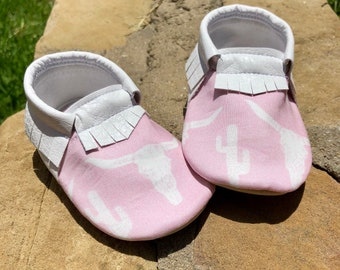 Pink Longhorns and Cactus- Baby Moccs- Baby Moccasins by TexasMoccs
