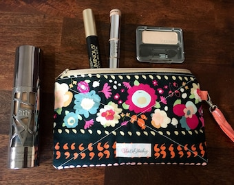 Small zippered pouch - cosmetic bag - coin purse- wristlet- make up bag