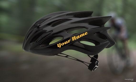 2 x Personalised nom autocollants pour vélo casques vinyl decal bmx skate