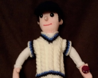 Hand-knitted Cricket Doll