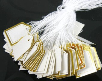 Gold Square Strung Price Labels Tie On Tags, Ideal for Gift & Jewellery Stall
