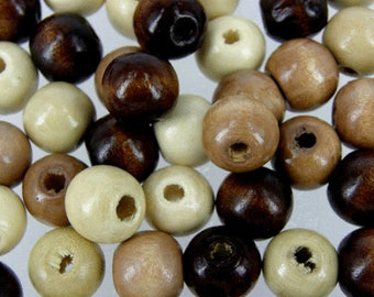 Natural Brown Mixed wooden beads, size 12 mm , Craft Jewellery making bead, or macrame crafting, pack of various quantity supplied,   W230