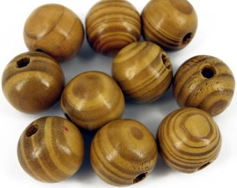 10 x Natural Large Burly Wood Round Beads 20mm Jewellery Making Craft W120