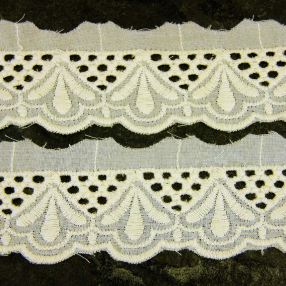 "*New* Pretty /& Dainty 2/""//5cm White Cotton Gathered Broderie Anglaise Lace"