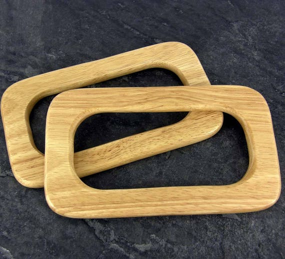 Sewing BH14 Bag Handles Pair of Oblong Retro Wood making bags Craft