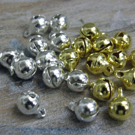 10//20mm Jingle Bells encanto Navidad Regalo Decoración Colgante plata oro mixto