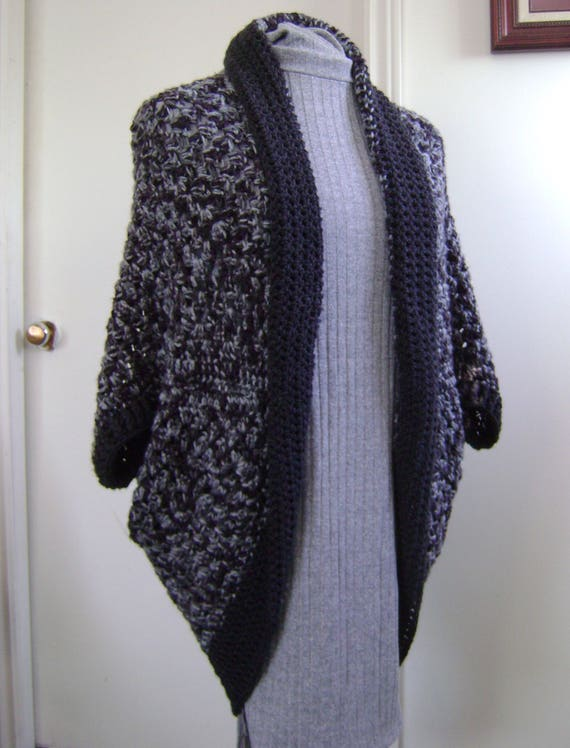 Crochet Granny Square Cocoon Sweater Cardigan Shrug In Dark Etsy