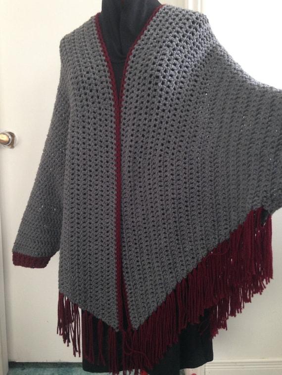 Crochet Grey And Burgungy Sleeved Poncho Cuffed Shawl Has Etsy