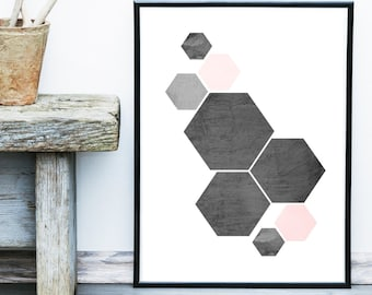 Geometric Abstract, Printable Art, Geometric Art, Geometric Wall Art, Wall Decor, Abstract Art Print, Instant Download
