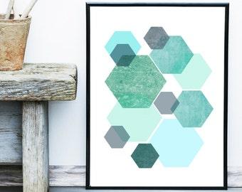 Geometric Print, Instant Download, Printable Art, Geometric Art, Geometric Wall Art, Abstract Art Print, Green And Grey Art