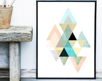 Triangle Print, Printable Art, Geometric Art, Scandinavian Art,  Geometric Wall Art, Abstract Art Print, Instant Download
