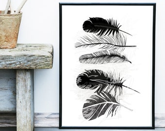 Feather Print, Printable Art, Black Feathers, Feather Art, Scandinavian Art, Wall Art, Wall Decor, Instant download, Poster