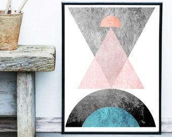 Geometric Wall Art, Printable Art, Pink And Grey Art, Geometric Art, Minimalist Poster,Wall Decor, Abstract Art Print, Scandinavian Art
