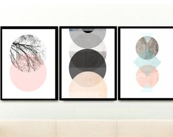Set of 3 Prints, Scandinavian Art, Triptych, Printable Art, Abstract Art,  Textured Art,  Digital download, Pink And Grey Art