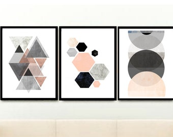 Triptych, Scandinavian Prints, Geometric Art, Printable Art, Pink And Grey Art,  Set of 3 Prints, Home Decor,instant download,