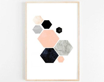 Geometric Art, Printable Art, Hexagon Print, Geometric Print, Scandinavian Art, Wall Decor, Abstract Art Print, Instant download